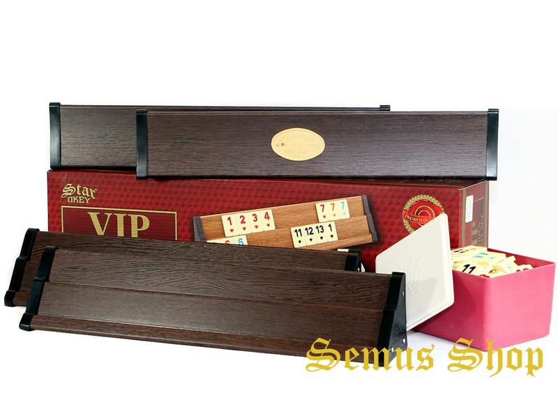 Star V.I.P Holz Wooden Rummy Set VIP OKEY mit Melamin Steine AHSAP OKEY TAKIMI